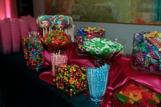 Colorful candy bar at a pink  blue themed Bat Mitzvah {Photo by Karen Ard Photography}
