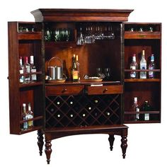 Howard Miller Cherry Hill Home Bar Wine and Liquor Cabinet - perhaps a cool-looking drinks cabinet like this (but this is reeeeaaly expensive) would be the best compromise? Liquor Bar Cabinet, Wine And Liquor Cabinets, Drinks Cabinet, Bar Cabinets, Wine Furniture, Cabinet Furniture, Antique Furniture, Armoire Bar, Wine Storage
