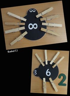 Numbered Legless Spiders  Adding legs to match the numbers. A couple of bright children had the opportunity to talk about how many legs the spider would need to make it up to 8…