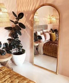Love a large floor mirror and this one is perfect! Definitely trying to fit more - Floor Plants - Ideas of Floor Plants - Love a large floor mirror and this one is perfect! Definitely trying to fit more greenery into our indoor spaces too Big Floor Mirrors, Large Mirrors, Large Mirror Living Room, Gold Floor Mirror, Large Gold Mirror, Gold Mirrors, Arch Mirror, Tall Mirror, Bohemian House
