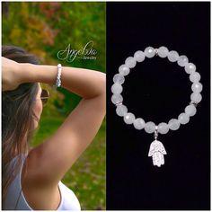 Onyx and Hamsa Hand Bracelet by angelovajewelry on Etsy