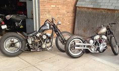 Harley knucklehead and panhead bobbers