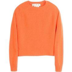 Marni Orange Wool Sweater ($710) ❤ liked on Polyvore featuring tops, sweaters, orange, orange top, orange sweater, long sleeve sweaters, boxy crop top and marni sweaters