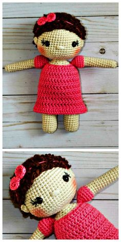 The Friendly Mae Crochet Doll Pattern- This sweet little doll is a great gift! With soft, fuzzy hair, tiny little ears, adorable little headband,and puff sleeves she is the perfect little baby doll!