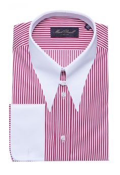 Spear Tab Collar Shirt Stripe Red/White | Mark Powell Mens High Collar Shirts, Mark Powell, Gents Shirts, Navy Blue Dress Shirt, Supreme Clothing, Bespoke Shirts, Red And White Dress, French Cuff Shirts, Shirt Cuff