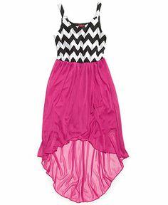 Ruby Rox Girls' Chevron-Print High-Low Dress - Kids Girls Dresses - Macy's