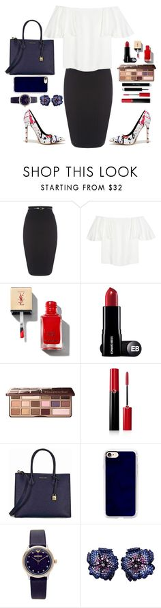 """ruffled style 😻😻"" by titouhabeg ❤ liked on Polyvore featuring Valentino, Too Faced Cosmetics, Giorgio Armani, Michael Kors, Casetify, Emporio Armani and La Fleur Jewels"