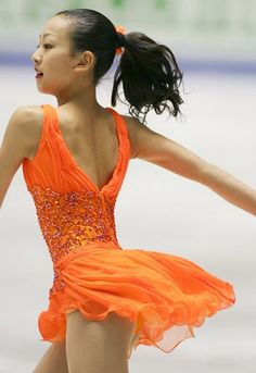 Mao Asada - Orange Coral Skating / Ice Skating dress inspiration for Sk8 Gr8 Designs.