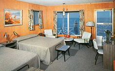 Sound Shore Motel - Greenport, Long Island, N.Y. --This is such a lovely room. At the ocean, it has a nautical flare. The lamps make it better.