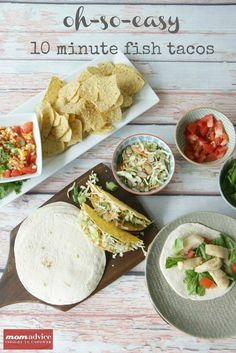 Cinco de Mayo is just around the corner which means it is time to break out those favorite Mexican dishes to celebrate the holiday. This recipe for 10 minute fish tacos is a new favorite in our house and fits right into my time and budget constraints. Fish Recipes, Seafood Recipes, Mexican Food Recipes, Dinner Recipes, Healthy Recipes, Yummy Recipes, Lunch Recipes, Dinner Ideas, Quesadillas
