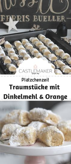 Dinkel-Traumstücke mit Orange Delicious dream pieces - probably the simplest cookies in the world - with spelled flour and orange - simple, tasty, beautiful. The recipe on Castlemaker. Vegan Chocolate, Chocolate Peanut Butter, Chocolate Recipes, Chocolate Chip Cookies, Mini Desserts, Easy Desserts, Cookie Recipes, Dessert Recipes, Cookies Et Biscuits