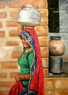 Punjab artwork of an Indian girl Indian Artwork, Indian Folk Art, Indian Art Paintings, Rajasthani Painting, Rajasthani Art, India Painting, Woman Painting, Art Village, Village Photos