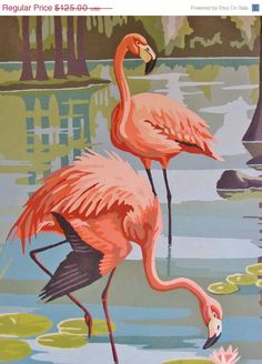 Original Pink Flamingo Painting - MINT - Paint by Numbers Kitsch, Mid Century Flamingo Art, Tropical Decor, Florida Decor, Beach Decor Flamingo Painting, Flamingo Art, Pink Flamingos, Mint Paint, Pink Bird, Pretty Birds, Paint By Number, Tropical Decor, Bird Art