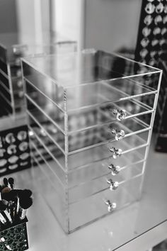 Photo On  Drawer Acrylic Makeup Organizer Cube Cosmetics Storage Box Luxury Diamond Knob
