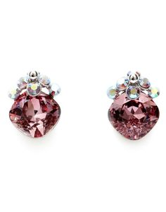 FROM HIM: CIVETTA SPARK Swarovski Crystal Earrings in Pink Fashion Accessories, Hair Accessories, Swarovski Crystal Earrings, Scarf Hairstyles, Heart Ring, Stud Earrings, Glamour, My Style, Womens Fashion