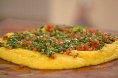 Polenta en tabla con salsa criolla