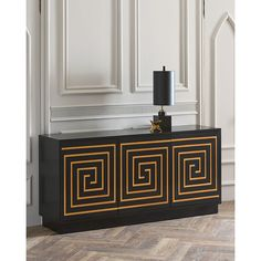 John-Richard Collection ADELA GREEK KEY CONSOLE ($3,339) ❤ liked on Polyvore featuring home, furniture, storage & shelves, sideboards, black, hand made furniture, black buffet, handmade furniture, black console and ebony furniture