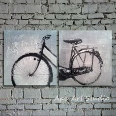Bicycle painting combination oil painting on by ApeArtStudio