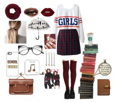 """""""Autumn and school"""" by vintagegabbi on Polyvore featuring Chicnova Fashion, Lands' End, Happy Plugs, Vidal Sassoon, Casetify, Mulberry, Bunn and Lime Crime"""