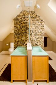 Jack and Jill Bathroom. Have a walk in shower with frosted glass so there is some privacy