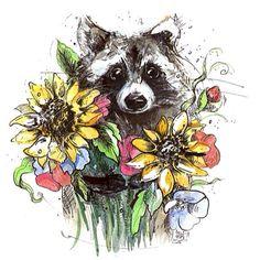 Доброе утро! Енота с цветами вам для хорошего настроения! Нарисовала молодая и…
