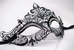 Luxury Black Laser Cut Venetian Masquerade Mask with Sparking Rhinestones - Made of Light Metal