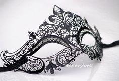 Luxury Black Laser Cut Venetian Masquerade Mask with por 4everstore, $32.95