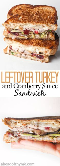 Looking for comfort food in a hand-held serving? Well, put those leftovers to good use and make leftover Thanksgiving turkey sandwich with cranberry sauce! | aheadofthyme.com via @aheadofthyme