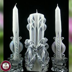 Beautiful wedding set!    Shop the latest photo from TwoLadiesAndBunny on Etsy: https://www.etsy.com/listing/205019348/custom-10-inch-set-hand-carved-candles?shop-update=4043946