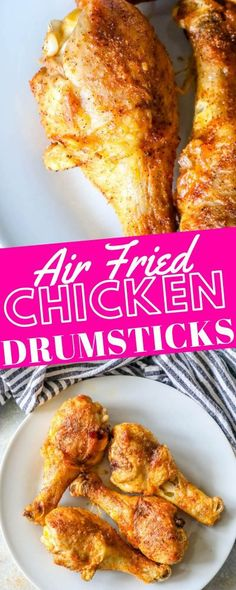 Easy, crunchy, and juicy chicken drumsticks that are bursting with flavor straight from the air fryer recipes chicken drumsticks The Best Air Fried Chicken Drumsticks - Sweet Cs Designs Healthy Fried Chicken, Fried Chicken Legs, Air Fryer Fried Chicken, Fried Chicken Recipes, Chicken Thighs, Baked Chicken, Boneless Chicken, Oven Chicken, Meat Recipes