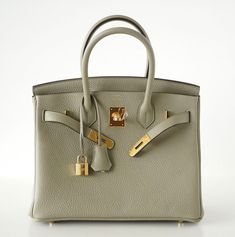 079e3da17f60 Hermes Birkin 30 exquisite color Sage Sauge is muted neutral perfection.  Luxurious with gold hardware in clemence leather. Comes with the lock and  keys in ...
