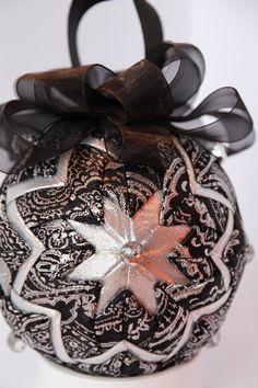 Beautiful Black & Silver Damask Ornament