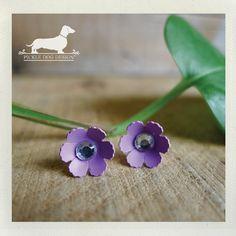Purple Petals Daisy Flower Post Earrings  by PickleDogDesign, $6.50