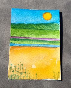 Original watercolor ACEO of a Beach Landscape by abuzzcard on Etsy, $10.00