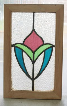 Antique Stained Glass Window Three Colors of Glass Victorian Bloom picclick.com