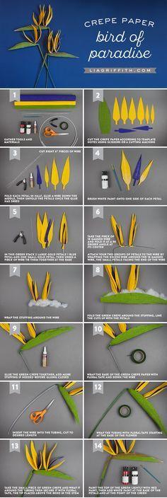 #crepepaperrevivalr Bird of Paradise www.LiaGriffith.com #paperflowers #paperflower #crepepaperrevival #crepepaperflowers #Crepepaper #paperflowertutorial