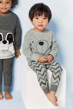 Buy Two Pack Grey Racoon Snuggle Fit Pyjamas online today at Next: United States of America Toddler Boy Fashion, Little Boy Fashion, Kids Fashion, Fashion 2018, Kids Pjs, Boys Pajamas, Boys Wear, Kind Mode, Baby Wearing