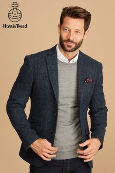 c515483e07ce Blue Signature Harris Tweed Wool Tailored Fit Blazer Men's Coats And  Jackets, Harris Tweed,