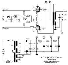 Austrovox Deluxe50 Dc Circuit, Circuit Diagram, Electronic Engineering, Electrical Engineering, Tesla Video, Tesla Logo, Nicolas Tesla, Valve Amplifier, Vacuum Tube