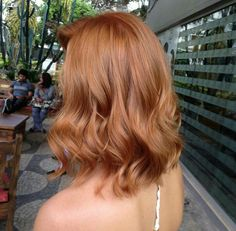 long bob | lob | light orange | strawberry blonde | curls | curly | waves | wavy | ginger