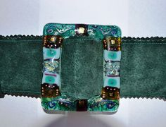 Green & blue sued belt with Fused glass belt buckle by Inspirall, £65.50