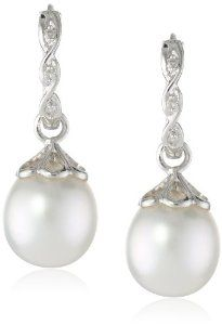 14k White Gold, South Sea Pearl and Diamond Earrings (0.03cttw, GH Color, I1-I2 Clarity)