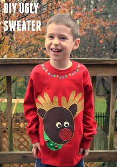 The perfect DIY Ugly Sweater for kids - using their handprints as a template