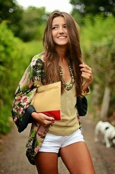 Shorts, cami and a floral kimono...love this spring outfit!  Women's spring and summer clothing fashion