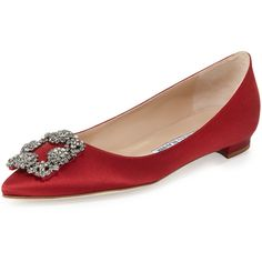 Manolo Blahnik Hangisi Crystal-Buckle Satin Flat ($985) ❤ liked on Polyvore featuring shoes, flats, обувь, crimson, crystal flats, flat pump shoes, flat pumps, buckle flats and low heel shoes