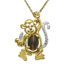 "Amazon.com: XPY 10k Yellow Gold Tigers Eye and Diamond Monkey with Banana Pendant Necklace (0.008 cttw, I-J Color, I3 Clarity), 18"": Jewelry"