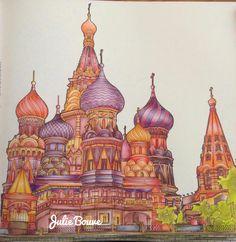 Fantastic structures Derwent inktense pencils Blender pen Colored by Julie Bouve