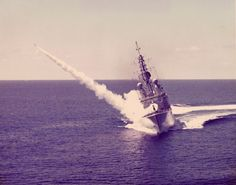 HMCS Iroquois launches a Sea Sparrow missile near Puerto Rico, 1976 Navy Military, Military Life, Military History, Royal Canadian Navy, Canadian Army, West Coast Canada, Sports Nautiques, Navy Day, Naval History