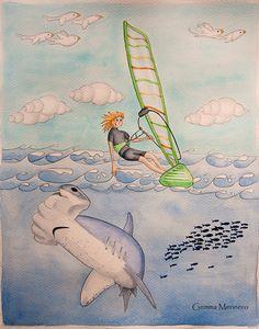 Windsurf y tiburón martillo. (Gemma Merinero)