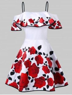 Vintage Rose Print Fit and Flare Dress - WHITE Source by dresses white Cute Prom Dresses, Pin Up Dresses, Dresses For Teens, Pretty Dresses, Dress Outfits, Short Dresses, Girls Dresses, Beautiful Dresses, Dress Robes
